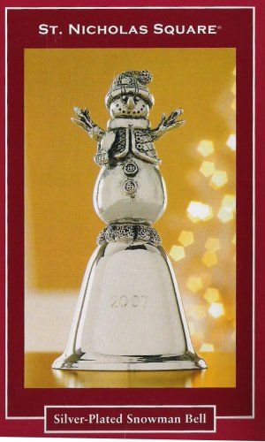 - St. Nicholas Square Silver Plated Snowman Bell 2007