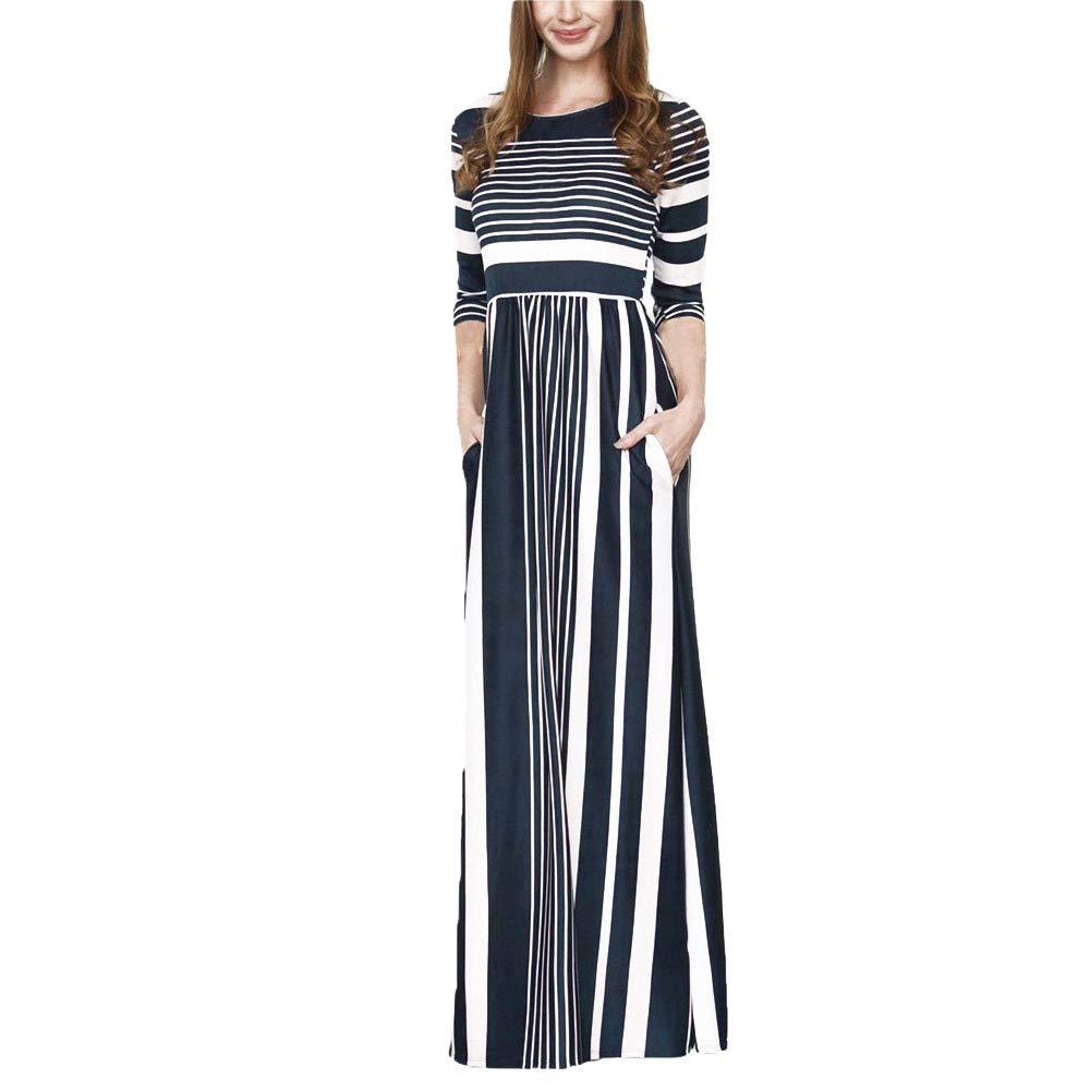 JESPER Women Three Quarter Sleeve Stripe Elastic Waist Pocket Casual Dress Maxi Dress US 8/10 Blue