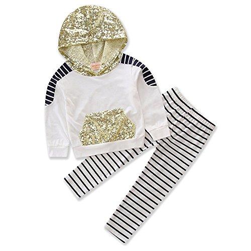 Samgami Baby Girls Stripe Hoodies Sportswear Sequins Hooded Sweater Pants Set Baby Clothing