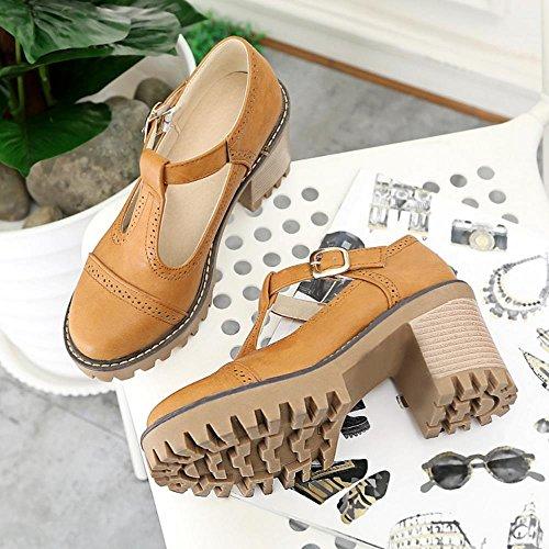 T Tobillo Zapatos En Heel Mujer Plataforma Correa Moda Al Coolcept Chunky Bombas Amarillo q8B6wY