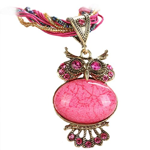 (Clearance! Jewelry Womens Bohemian Rhinestone Owl Charm Animal Gemstone Pendant Statement Necklace Long Chain 22'' (Hot Pink) )