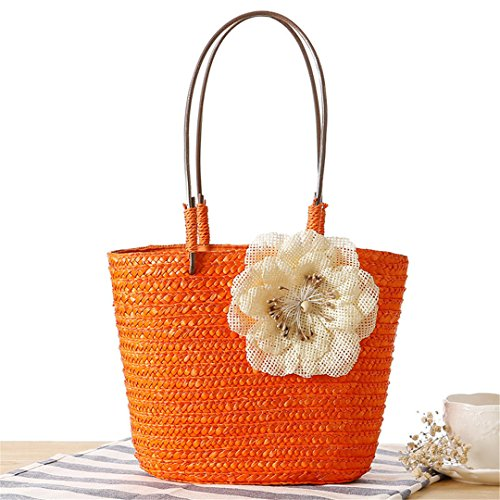 Bags Weave Travel Lady Straw Summer Bag Basket Beach Female Shoulder Orange Shopping Women Bag Flower Casual SS3104 Handle MANFDGABNGS wEvqF4B