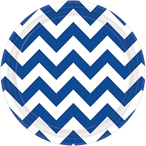 Royal Blue Chevron Dessert Plates (8ct) (Chevron Blue Dessert Plates)