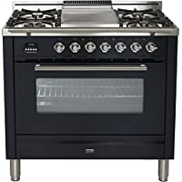 Ilve UPW90FDMPM Pro Series 36 Dual Fuel Range Oven Griddle, Convection Oven, Warming Drawer, Matte Graphite