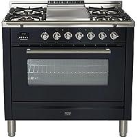 Ilve UPW90FDMPM Pro Series 36 Dual Fuel Range Oven Griddle, Convection Oven, Warming Drawer, Matte Graphite