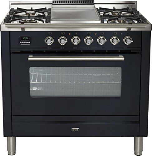 - Ilve UPW90FDMPM Pro Series 36 inch. Dual Fuel Range Oven Griddle Convection Storage Drawer Matte Graphite