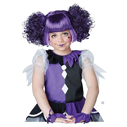 Gothic Dolly Wig Kids Purple Harlequin Doll Jester Halloween Costume Fancy Dress - Teen Gothic Dolly Costumes