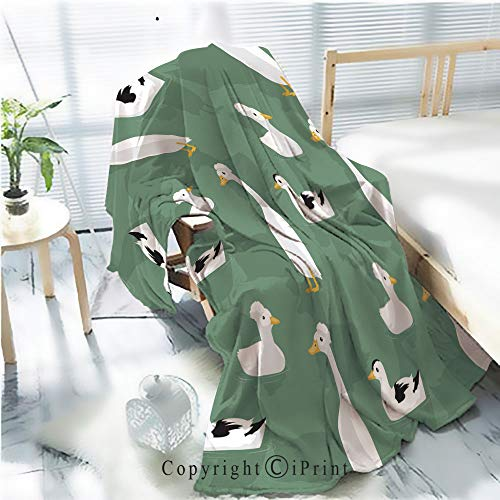 (AngelSept Printed Throw Blanket Smooth and Soft Blanket,Duck Crested Cartoon Seamless Wallpaper for Sofa Chair Bed Office Travelling Camping,Kid Baby,W31.5 x H47.2)
