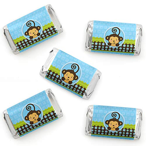 Blue Monkey Boy - Mini Candy Bar Wrapper Stickers - Baby Shower or Birthday Party Small Favors - 40 Count (Baby Wrappers Shower Miniature Candy)