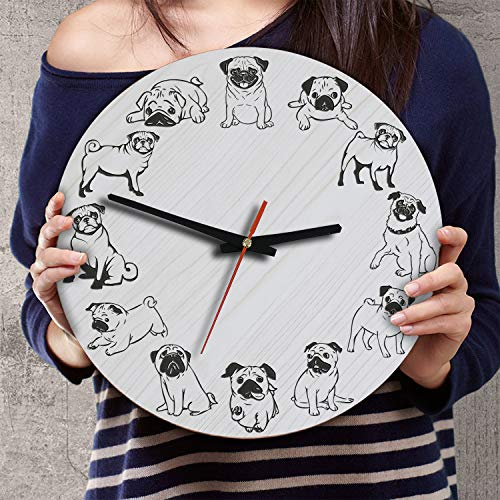 - VTH Global 12 Inch Silent Battery Operated Pug Dog Wood Wall Clocks Pugs Gifts for Dad Mom Pet Lovers