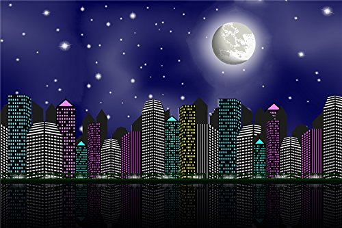 SUSU 14x10ft City Scape Backdrop Photography Supercity Night Photo Backdrops for Superhero Shoots Wrinkles Free (City Scape Backdrop)