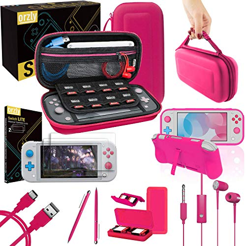 Orzly Switch Lite Accessories Bundle - Case & Screen Protector for Nintendo Switch Lite Console, USB Cable, Games Holder, Comfort Grip Case, Headphones, Thumb-Grip Pack & more (Orzly Gift Pack - Pink) from Orzly