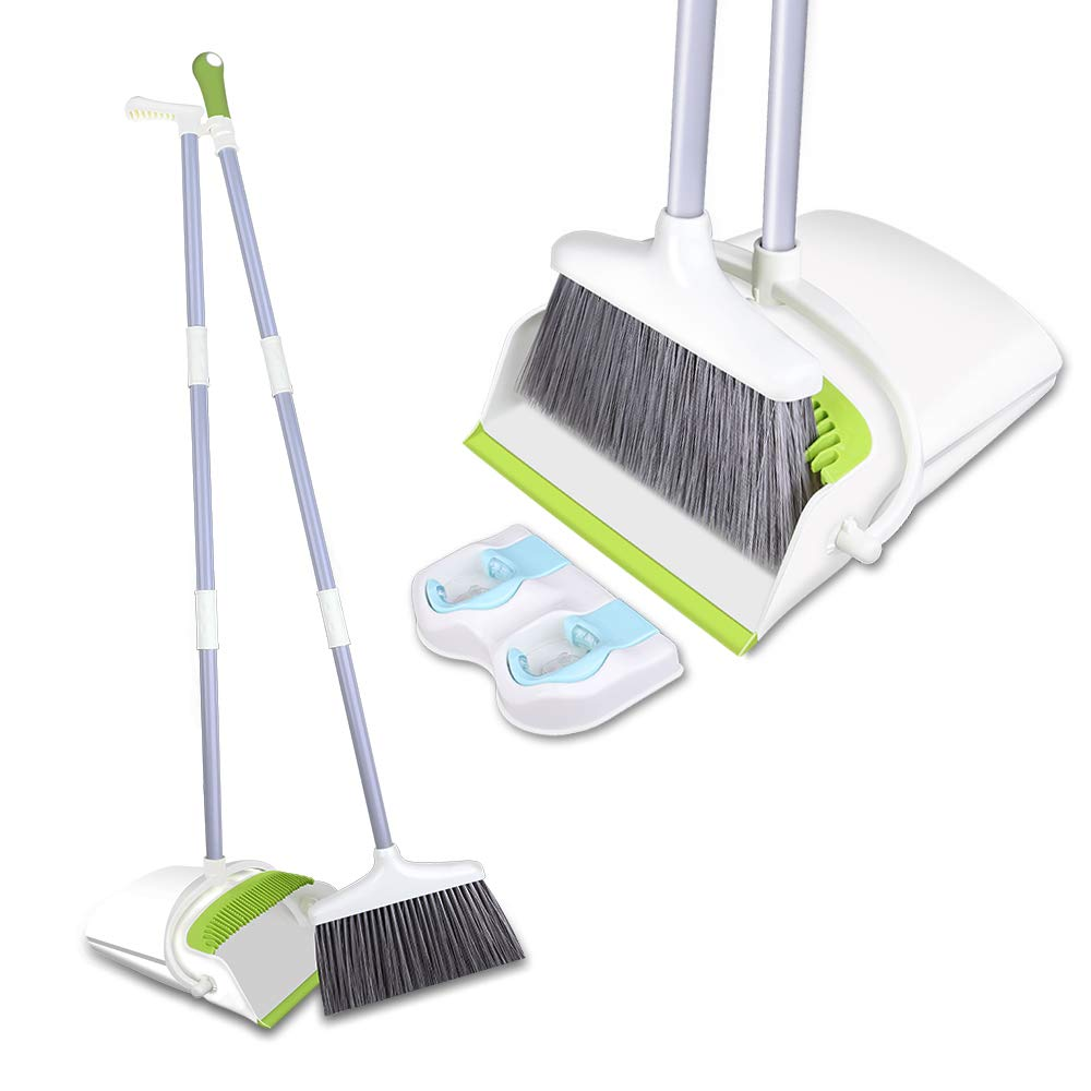 Skizem Broom and Dustpan Set -Upright Dust pan and Broom Combo with Long Extendable Handle-Dirt and Pet Hair Cleaning for Kitchen, Home Lobby (Green) by Skizem