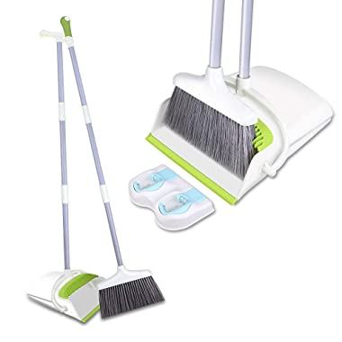 Skizem Broom and Dustpan Set with Long Extendable Handle-Wisp and Pet Hair Cleaning,Ideal Kitchen, Home Ourdoor Lobby Upright Broom and Dust pan Combo with Holder