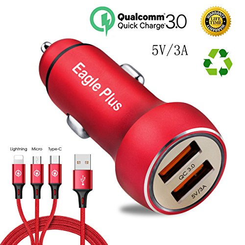 Quick Car Charger 3.0 5V 3A Dual USB Car Adapter with 2.4A 3-in-1 cable which power for Iphone X/8/7/6s/Plus.Ipad Pro/Air 2/Mini,Galaxy S7/S6/Eagle Plus, Note 5/4,LG,Nexus,HtC and Samsung.