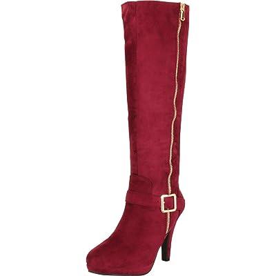 Cambridge Select Women's Side Zip Platform High Heel Knee-High Boot, 9 B(M) US, Wine IMSU | Knee-High