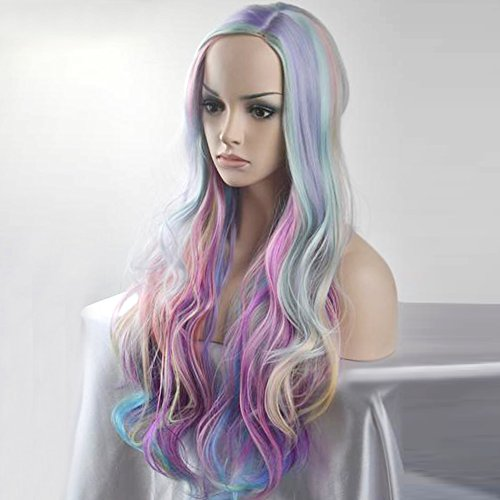 BERON Long Curly Multi-Color Charming Full Wigs for Cosplay Girls Party or Daily Use Wig Cap Included (Colorful) by BERON (Image #2)