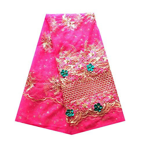 LaceQin 5 Yards African Bud Silk Cloth Swiss Nigeria French Lace Fabric 3D Applique Beaded Lace Wedding Party Dress Lace Fabric (Pink)