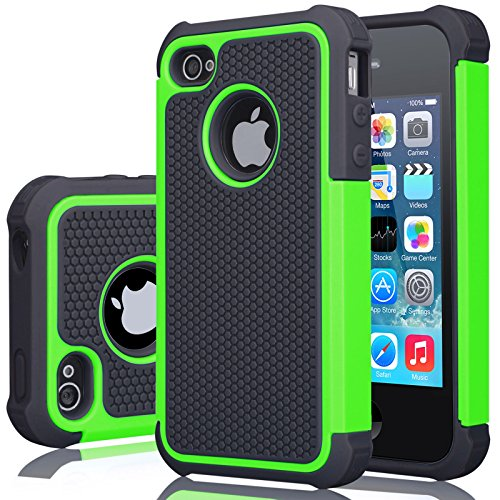 iPhone 4S Case, iPhone 4 Cover, Jeylly Shock Absorbing Hard Plastic Outer + Rubber Silicone Inner Scratch Defender Bumper Rugged Hard Case Cover For Apple iPhone 4/4S - Green (Rubber Iphone 4 Case)