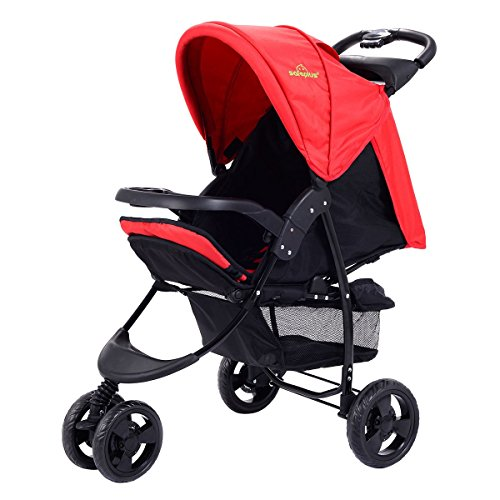 3 Wheel Foldable Baby Kids Travel Stroller Pushchair Buggy Newborn Infant – Red