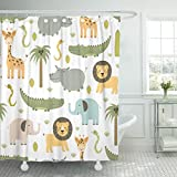Emvency Shower Curtain Safari Animals with Cute Hippo Crocodile Lion Elephant and Giraffe in Childish Style Waterproof Polyester Fabric 72 x 72 inches Set with Hooks