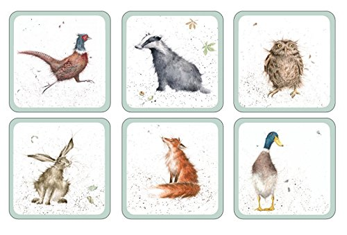 SET OF 6 OWL BADGER HARE DUCK PHEASANT FOX HEAT RESISTANT CORK BACKED COASTERS
