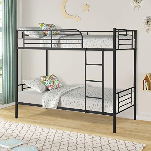 Easy Assembly Twin Over Twin Metal Bunk Bed, Save Space Heavy Duty Twin Bed Frame with Movable Ladder and Safety Guard Rails for Kids Teens Children Adults Supports 400lbs Black