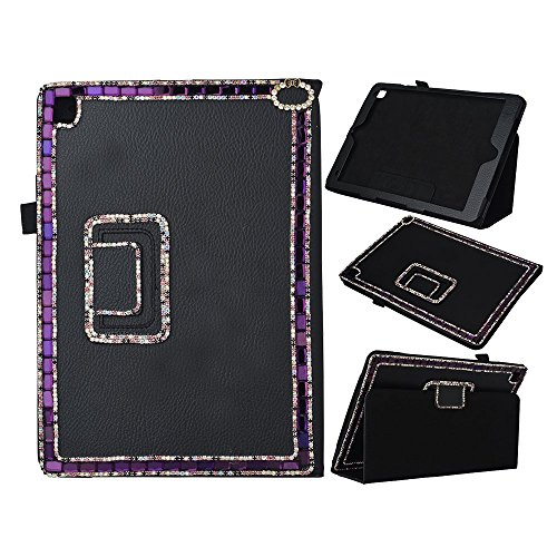Spritech(TM) Fashion Tablet Bling Case For iPad Pro 9.7 inch 2016 Release,PU Leather Wallet Slim Fold Cover 3D Handmade Bling Rhinestone Design Tablet Cover Black ()