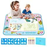 Aqua Magic Doodle,31.5 x 23.6 IN Water Play Mat Kids Drawing Sets Toys Larger Size Multicolored No Mess Water Drawing Painting Pad With 4 Magic Pens and 4 Pcs Plastic Template,Ideal Educational Toy for 1 Year Old Boy Gifts