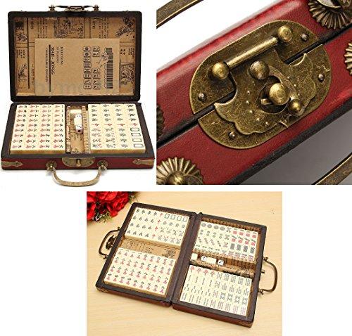 TOP Satisfied US 144 Tiles Chinese Mah-Jong Portable Vintage Mahjong Rare Set w/LeatherBox - Vintage Mahjong