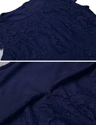 Donne Merletto Rigonfiamenti Vestito Patchwork Blu Scuro Del Sera Linea Del Del Di Protezione Della Cocktail Chiarore Manicotto Partito Con Cintura Una Chiffon Di Delle Di vwrqw5T