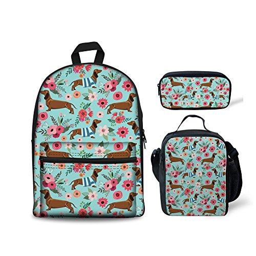 FOR U DESIGNS Floral Dachshund School Backpack for Boys Girls Backpack Set 3 Pieces with Lunchbox Pencilcase