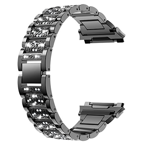 Wearlizer Bling Band Compatible Fitbit Ionic Bands Women, Stainless Steel Bling Replacement Band Bracelet with Diamond Rhinestones X-Link Compatible Fitbit Ionic Small Large -