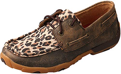 Twisted X Women's Cheetah Print Driving Moccasins Moc Toe Leopard 9.5 - Driving Moc Slip