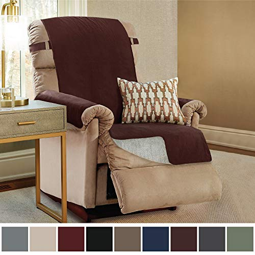 Gorilla Grip Original Slip Resistant Recliner Slipcover Protector, Seat Width Up to 26 Inch Suede-Like, Patent Pending, 2 Inch Straps, Hook, Furniture Cover for Kids, Dogs, Pets, Recliner, - Suede Soft Furniture Covers