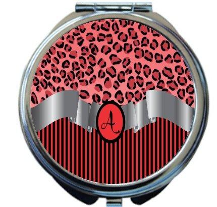 Rikki Knight Letter''A'' Red Leopard Print Stripes Monogrammed Design Round Compact Mirror by Rikki Knight