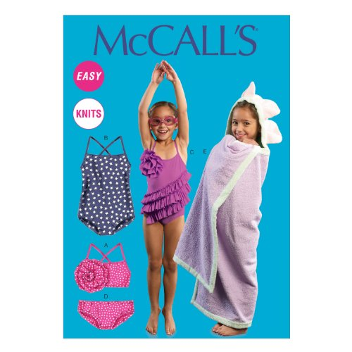 McCall Pattern Company M6729 Toddlers'/Children's Swimsuits and Cover-Up Sewing Template, Size CB (Hooded Towel Patterns)