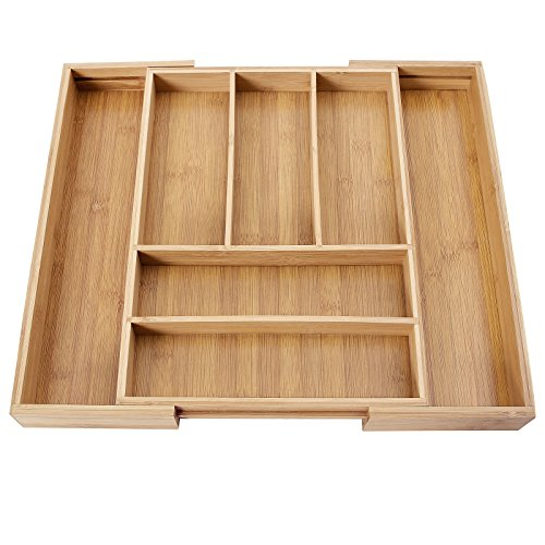 Price comparison product image SONGMICS Bamboo Cutlery Tray Expandable Utensil Organizer Flatware Drawer Dividers Kitchen Storage Organizer UKAB801