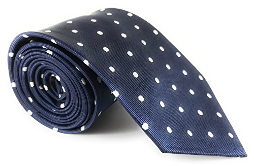 ie with White Polka Dots (Navy Blue Silk Necktie)
