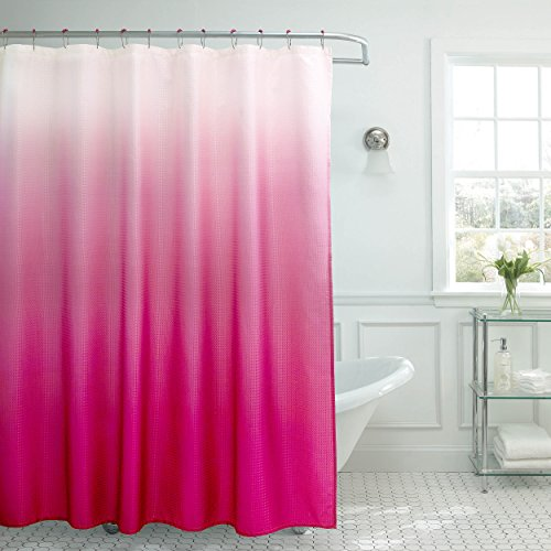 (Creative Home Ideas Ombre Textured Shower Curtain with Beaded Rings, Fuchsia)