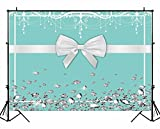 Funnytree 7X5ft Breakfast Bowknot Co Blue Backdrop Turquoise Bow Diamonds Sweet 16 Birthday Party Background Bridal Shower Wedding Dessert Cake Table Decorations Photo Booth Banner