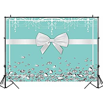 Amazon Com Funnytree 7x5ft Breakfast Bowknot Co Blue Backdrop