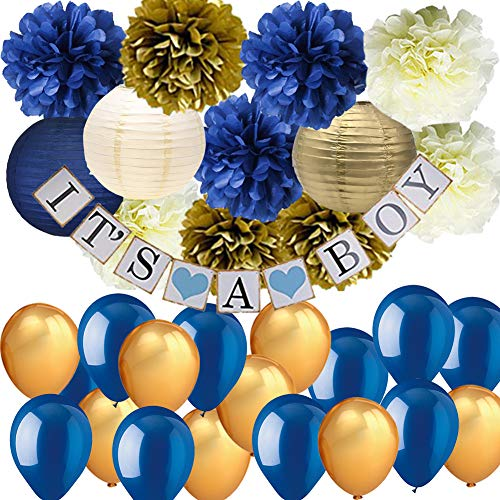 Navy Blue Gold Baby Shower Decorations-It's A BOY Banner Tissue Paper Pom Pom Flowers Paper Lanterns Balloons for Royal Prince Baby Shower Decorations 1st Birthday Boy Prince Party Supplies ()