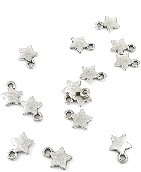 BULK 50 Star charms silver plated S115