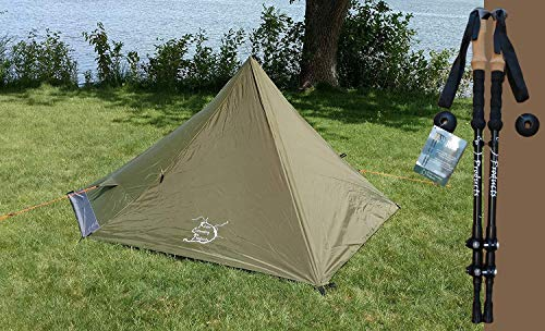 River Country Products Trekker Tent One Combo Pack with Trekking Poles, Ultralight Backpacking Tent