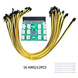 VANCOOL Server PSU Breakout Board for Ethereum ETH ZEC Mining Power Supply 12 Pack 16AWG PCI-E 6Pin to 6+2Pin Cables 27.5Inch Length(70CM, with 6 Nylon Cable Ties)