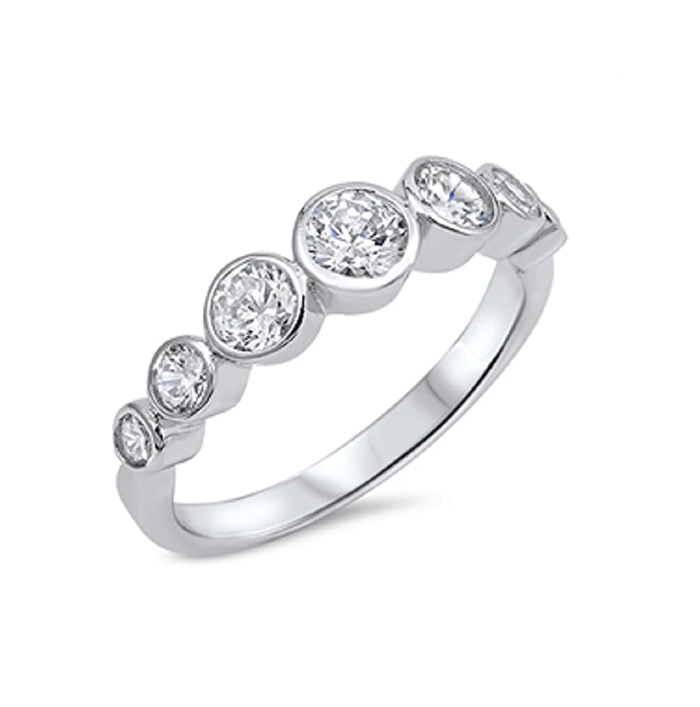 Clear Round Stones Cubic Zirconia Ring Sterling Silver