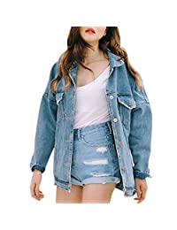 Tootu Retro Women Boyfriend Oversize Loose Jacket Casual Denim Jeans Coat Outwear