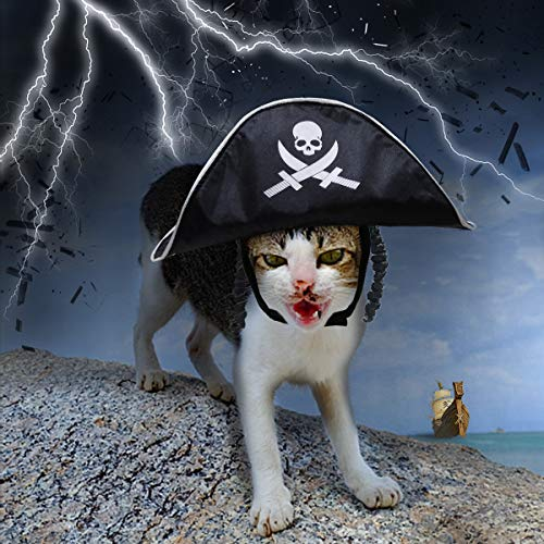Enjoying Small Cat Dog Pirate Halloween Costume Hat with Classic Braids Hairstyle Pet Costume for Halloween -