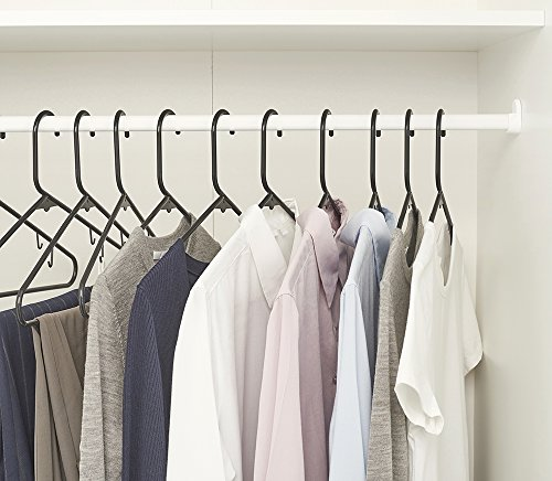 HOUSE DAY 60PACK Black Plastic Tubular Adult Hangers 16.5 Inch Light-Weight Plastic Hanger 60pcs (Black)